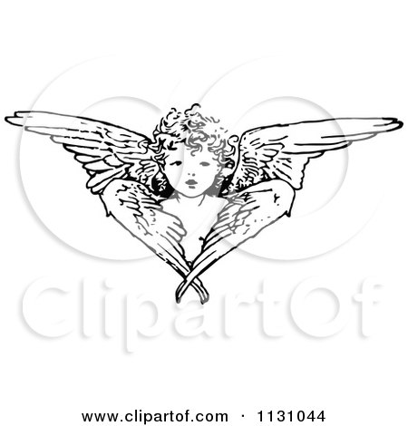 Clipart Of A Retro Vintage Black And White Cherub Angel And Wings - Royalty Free Vector Illustration by Prawny Vintage