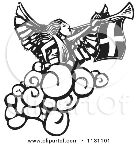 Clipart Of An Angel Playing A Trumpet Black And White Woodcut - Royalty Free Vector Illustration by xunantunich