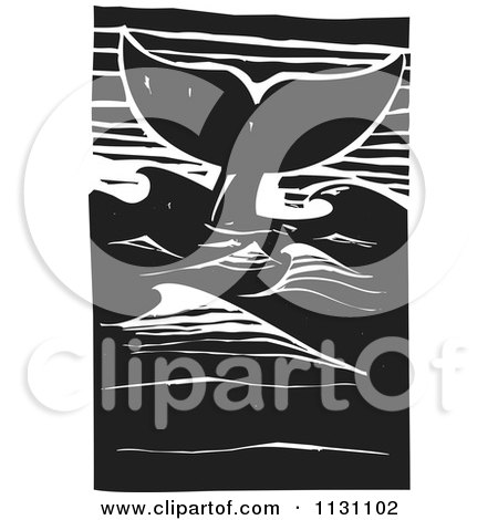 Clipart Of A Whale Tail In The Ocean Black And White Woodcut - Royalty Free Vector Illustration by xunantunich