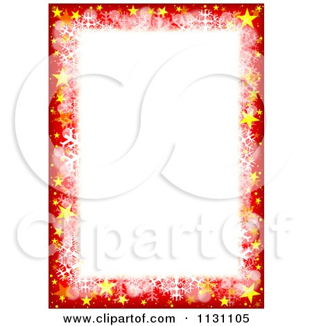 Clipart Of A Red Christmas Border With Sparkles Stars And Snowflakes - Royalty Free Vector Illustration by dero
