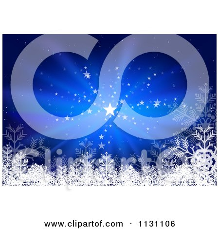 Clipart Of A Blue Christmas Background With Stars Rays And Snowflakes - Royalty Free Vector Illustration by dero