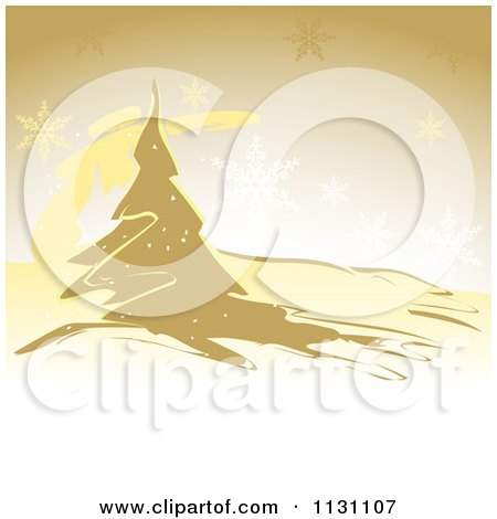 Clipart Of A Red Christmas Background With Snowflakes And A Tree - Royalty Free Vector Illustration by dero