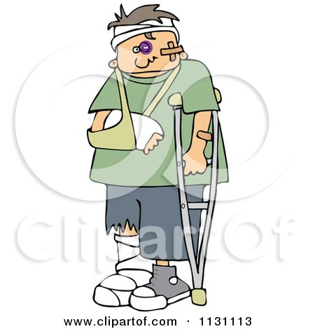 Cartoon Of A Injured Boy With A Crutch And Sling - Royalty Free Vector Clipart by djart