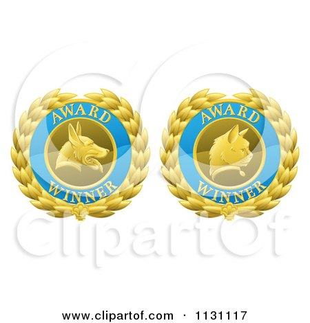 Clipart Of Blue And Gold Winner Cat And Dog Laurel Wreath Pet Award Medals - Royalty Free Vector Illustration by AtStockIllustration