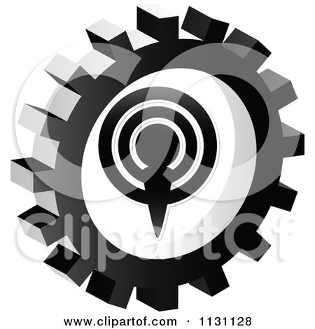 Clipart Of A Grayscale Podcast Gear Cog Icon - Royalty Free Vector Illustration by Andrei Marincas