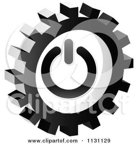 Clipart Of A Grayscale Power Gear Cog Icon - Royalty Free Vector Illustration by Andrei Marincas