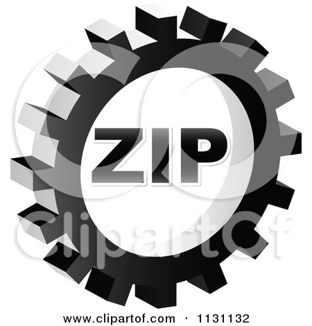 Clipart Of A Grayscale ZIP Gear Cog Icon - Royalty Free Vector Illustration by Andrei Marincas