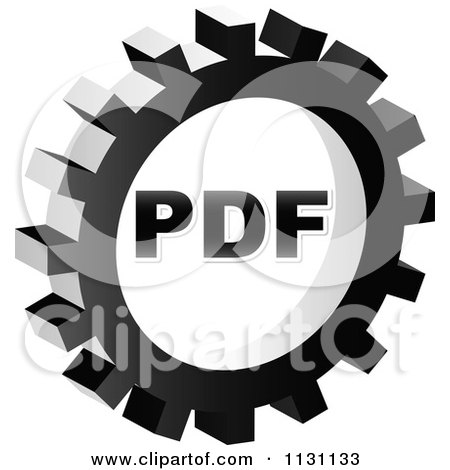 Clipart Of A Grayscale PDF Gear Cog Icon - Royalty Free Vector Illustration by Andrei Marincas
