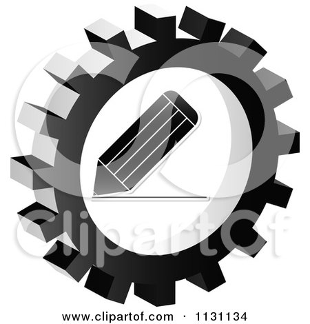 Clipart Of A Grayscale Pencil Gear Cog Icon - Royalty Free Vector Illustration by Andrei Marincas