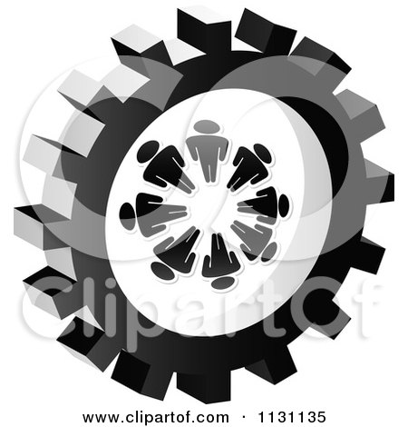 Clipart Of A Grayscale Doc Gear Cog Icon - Royalty Free Vector Illustration by Andrei Marincas