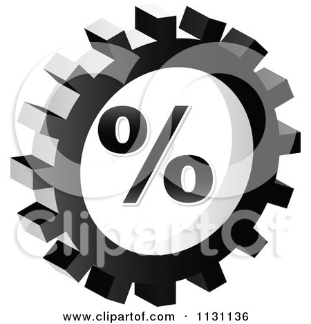Clipart Of A Grayscale Percent Gear Cog Icon - Royalty Free Vector Illustration by Andrei Marincas
