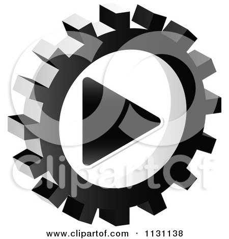 Clipart Of A Grayscale Play Gear Cog Icon - Royalty Free Vector Illustration by Andrei Marincas