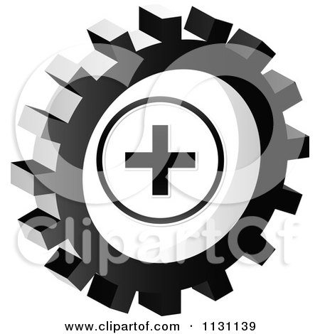 Clipart Of A Grayscale Plus Gear Cog Icon - Royalty Free Vector Illustration by Andrei Marincas