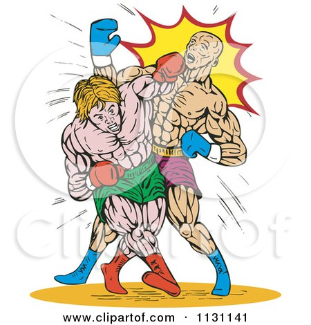 Clipart Of Retro Male Boxers Throwing Punches - Royalty Free Vector Illustration by patrimonio