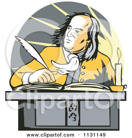 Clipart Of Benjamin Franklin Writing At A Desk - Royalty Free Vector Illustration by patrimonio