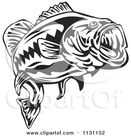 Clipart Of A Retro Black And White Largemouth Bass Fish - Royalty Free Vector Illustration by patrimonio