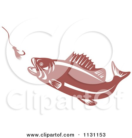 Clipart Of A Retro Largemouth Bass Fish Chasing A Hook And Lure - Royalty Free Vector Illustration by patrimonio