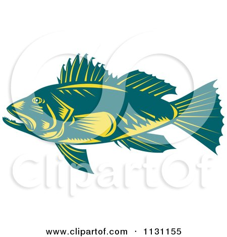 Clipart Of A Retro Teal And Yellow Largemouth Bass Fish In Profile - Royalty Free Vector Illustration by patrimonio