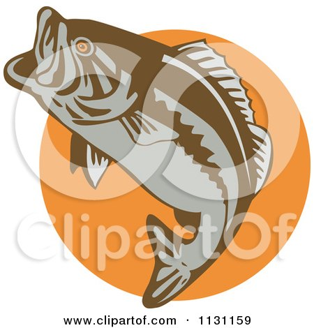 Clipart Of A Retro Leaping Largemouth Bass Fish Over An Orange Circle - Royalty Free Vector Illustration by patrimonio