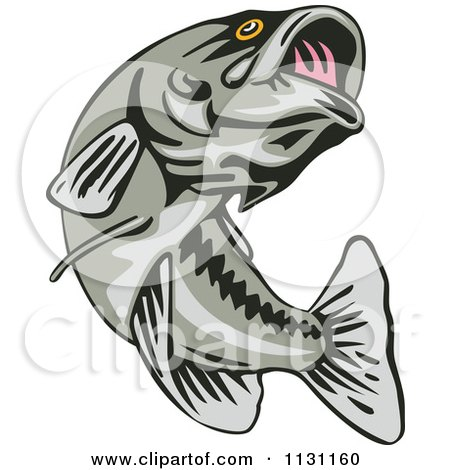 Clipart Of A Retro Leaping Largemouth Bass Fish - Royalty Free Vector Illustration by patrimonio