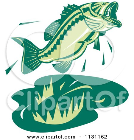 Clipart Of A Retro Green Jumping Largemouth Bass Fish - Royalty Free Vector Illustration by patrimonio