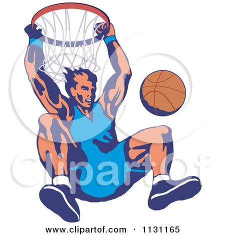 Clipart Of A Retro Male Basketball Athlete Hanging From A Hoop - Royalty Free Vector Illustration by patrimonio