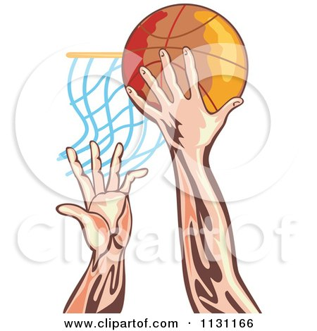 Clipart Of Retro Male Athlete Hands Dunking A Ball - Royalty Free Vector Illustration by patrimonio