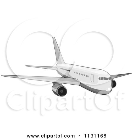 Clipart Of A Retro White Commercial Airliner Plane - Royalty Free Vector Illustration by patrimonio