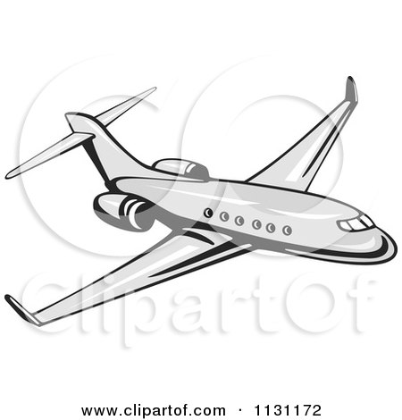 Clipart Of A Retro Commercial Airliner Plane - Royalty Free Vector Illustration by patrimonio