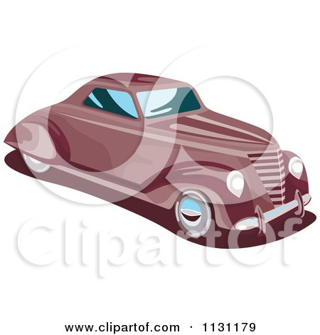 Clipart Of A Retro Vintage Red Car - Royalty Free Vector Illustration by patrimonio