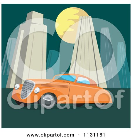 Clipart Of A Retro Vintage Orange Car In A City At Night - Royalty Free Vector Illustration by patrimonio
