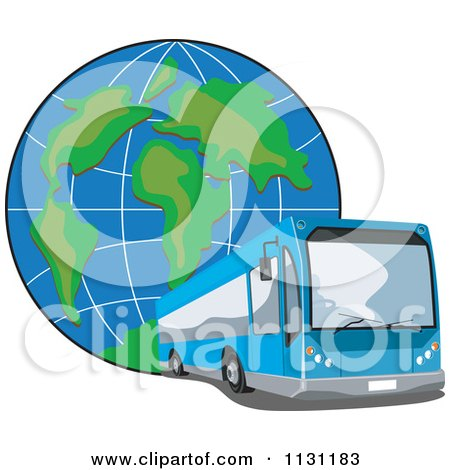 Clipart Of A Blue Tour Bus And Globe - Royalty Free Vector Illustration by patrimonio
