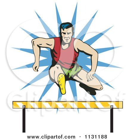 Clipart Of A Retro Male Athlete Jumping A Hurdle 1 - Royalty Free Vector Illustration by patrimonio