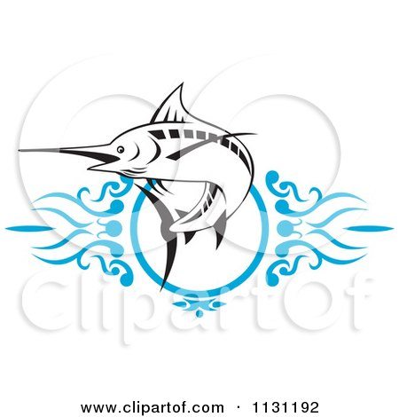 Clipart Of A Retro Marlin Over Blue Swirls - Royalty Free Vector Illustration by patrimonio