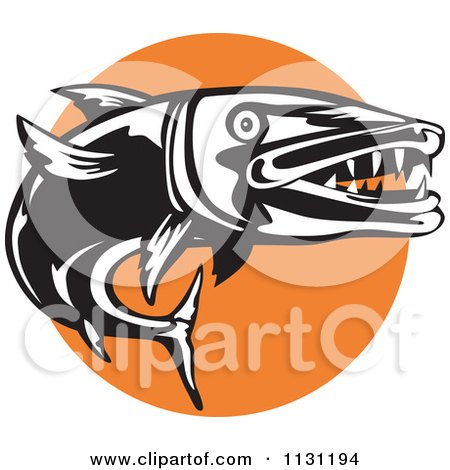 Clipart Of A Retro Black And White Barracuda And Orange Circle - Royalty Free Vector Illustration by patrimonio