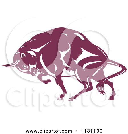 Clipart Of A Retro Woodcut Charging European Bison - Royalty Free Vector Illustration by patrimonio