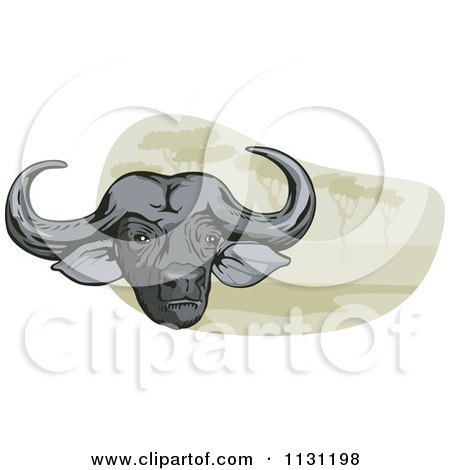 Clipart Of An African Cape Buffalo Head Over A Scene Of Trees - Royalty Free Vector Illustration by patrimonio