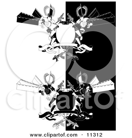 Two Manga Style Futuristic Robots Holding Laser Guns by a Blank Shield and Banner Clipart Picture by AtStockIllustration