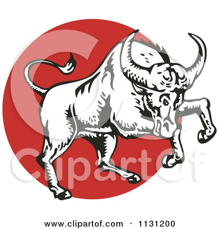 Clipart Of A Charging Bull In Black And White Over A Red Circle - Royalty Free Vector Illustration by patrimonio