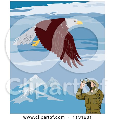 Clipart Of A Bird Watcher Viewing A Bald Eagle In Mountains - Royalty Free Vector Illustration by patrimonio