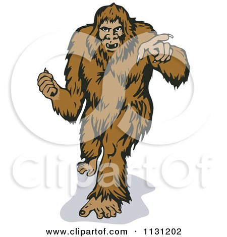 Clipart Of A Retro Bigfoot Walking Forward And Pointing - Royalty Free Vector Illustration by patrimonio