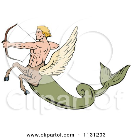 Clipart Of A Retro Fantasy Winged Horse Fish Man Shooting An Arrow - Royalty Free Vector Illustration by patrimonio
