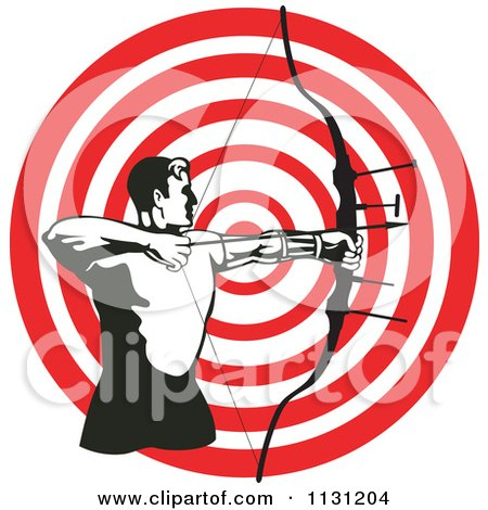 Clipart Of A Retro Archer Man Shooting An Arrow Over A Target - Royalty Free Vector Illustration by patrimonio