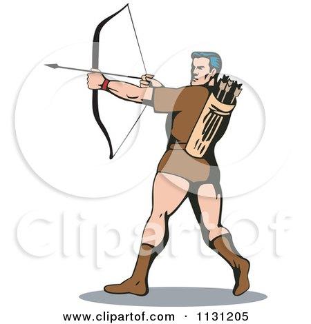 Clipart Of A Retro Archer Man Shooting An Arrow - Royalty Free Vector Illustration by patrimonio