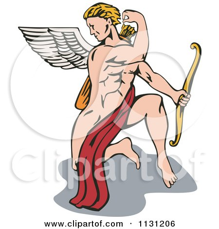 Clipart Of A Strong Cupid Kneeling And Reaching For An Arrow Royalty Free Vector Illustration