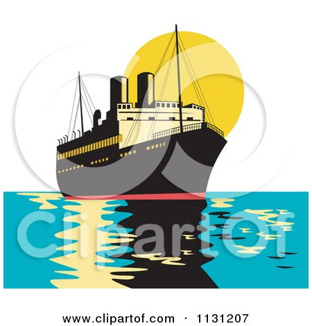 Clipart Of A Retro Freighter Ship At Sunset - Royalty Free Vector Illustration by patrimonio