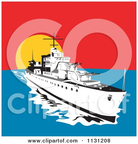 Clipart Of A Retro Military Battleship With Big Guns At Sunset - Royalty Free Vector Illustration by patrimonio
