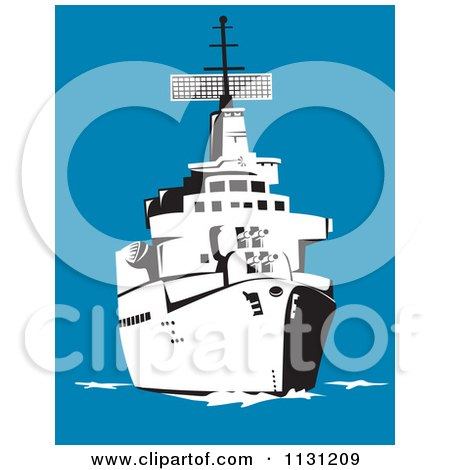 Clipart Of A Retro Black And White Military Battleship At Sea - Royalty Free Vector Illustration by patrimonio