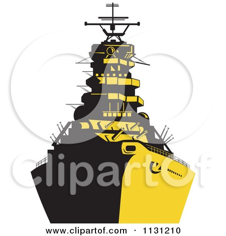 Clipart Of A Retro Military Battleship In Yellow And Black - Royalty Free Vector Illustration by patrimonio