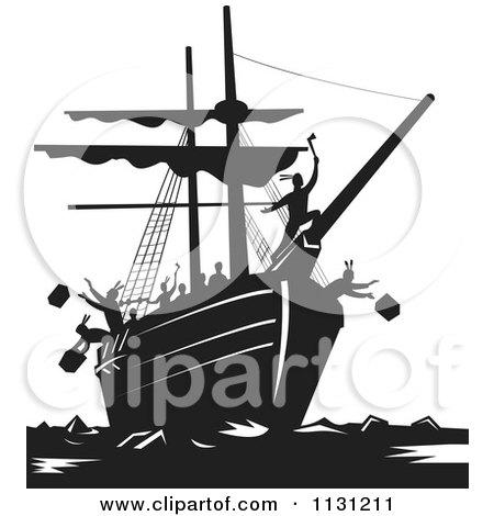 Clipart Of Retro Black And White Protestors Destroying Tea Boston Tea Party - Royalty Free Vector Illustration by patrimonio